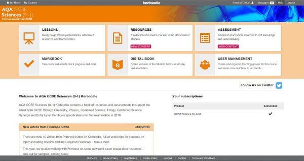 Kerboodle GCSE Science homepage