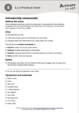 AQA Activate Kerboodle practical screenshot