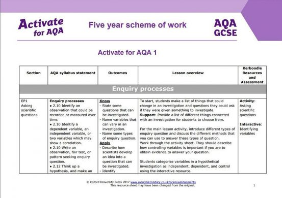 AQA Activate scheme of work screenshot