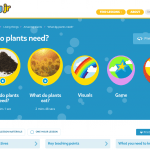 Screenshot of a TigTag Junior lesson - what do plants need? Showing the films included in the lessons, the extra visuals, game and quiz