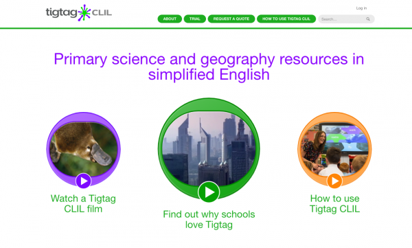 Screenshot of TigTag CLIL homepage