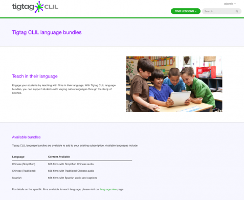 Screenshot of TigTag CLIL language bundle options - explaining you can have packages in Simplified Chinese, Traditional Chinese or Spanish