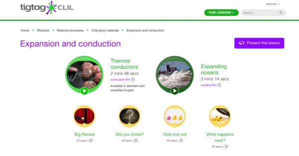 Screenshot of a TigTag CLIL lesson - showing an exmaple of a curriculum film, a content films, and short films that accompany the lesson