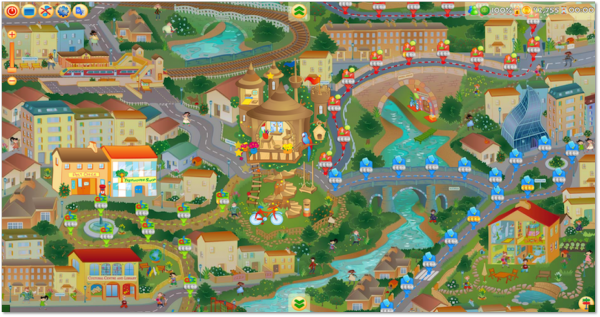 Picture of the map showing all locations used in the Learning Village