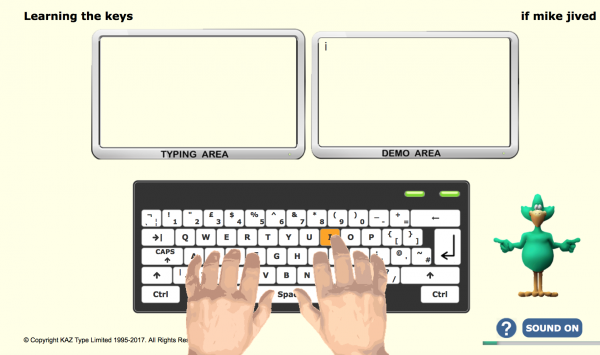 Student learns to type the a-z keys using our five scientifically structured phrases designed to teach the fingers of both hands to type symmetrically and simultaneously.