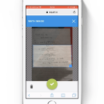 Picture of a phone with the EquatIO mobile app taking a photo of handwritten maths on a page