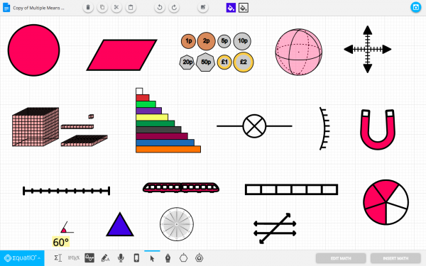 Screenshot of a variety of manipulatives available in EquatIO