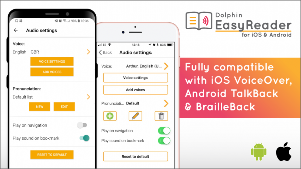 Fully compatible with iOS VoiceOver, Android TalkBack & Braille Back
