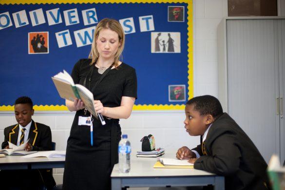 School teacher talking to class