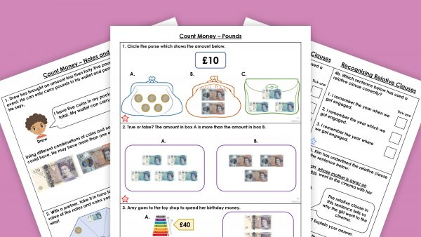 Three pages from Classroom Secrets downloadable resources