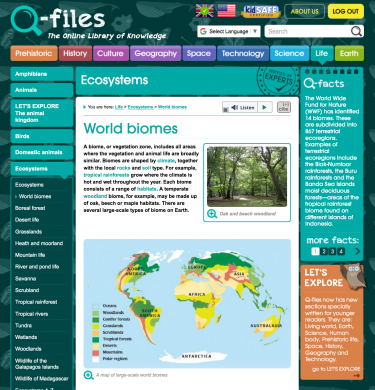 Ecosystems page from Q-files
