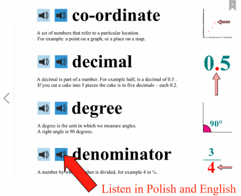 co-ordinbates, decimal, degree, denominater explained in Polish and English
