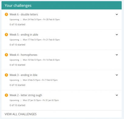 upcoming spelling challenges
