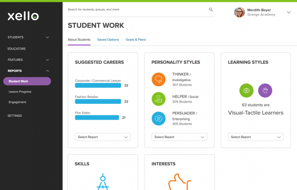 An educator tool view of engagement reporting in Xello