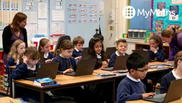 Primary school class using MyMaths on laptops