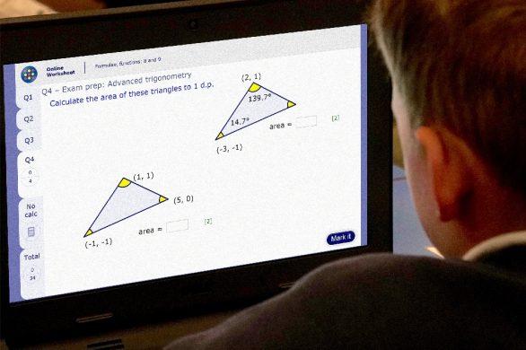 Student using MyMaths homework resources