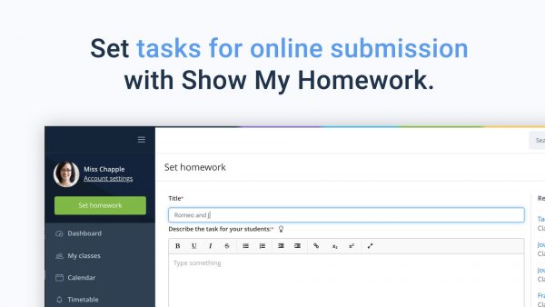 Online submissions on Show My Homework